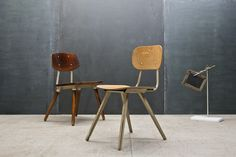 USA, French Influenced Vintage Industrial Wood and Steel School Chairs.Birch Prouve W: 17 x D: 21 x H: 30 in. *(Seat H: 17 in.