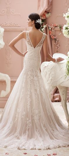 Straps Ball Gown Lace Pinkish Wedding Dress