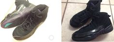 Air Jordan 23 Size 1 Youth Boys/Mens Black Purple Tennis Shoes Lace up Basketball Sneakers $24 (Took a bright one on the left so you could see more detail)