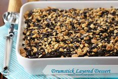 Drumstick Layered Dessert - Drumstick ice cream is lifelong favorite of mine. I dare say, probably for many kids of all ages. Classic vanilla ice cream with chocolate and peanuts, what's not to like, right? Cold Desserts, Frozen Desserts, Chocolate Desserts, Easy Desserts, Delicious Desserts, Yummy Food, Frozen Treats, Brownies, Mousse