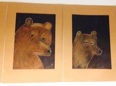 Karhu (1.lk) Taululiiduilla toteutettu. Ope piirsi ensin mallin taululle. Lapset seurasivat piirtämistä. (Alkuopettajat FB -sivustosta / Maria Marttila)