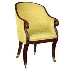 Classical Mahogany Tub Chair, New York or Philadelphia, Mid-19th Century | From a unique collection of antique and modern armchairs at https://www.1stdibs.com/furniture/seating/armchairs/