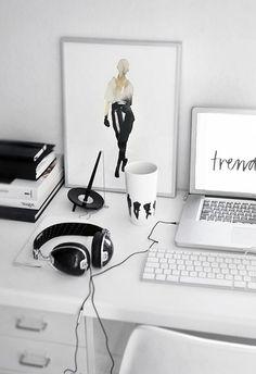 / black and white desk /