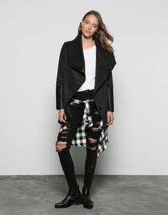 Bershka wool coat with imitation leather detail
