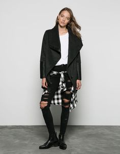 Bershka wool coat with imitation leather detail