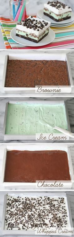 Must make for Adam! Mint Brownie Ice Cream Bars