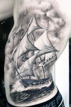 Cloud Shading Tattoos For Males Of Ship Sailing The Seas