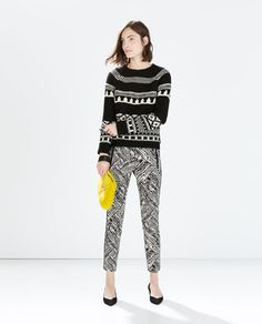 ZARA - WOMAN - PRINT TROUSERS WITH CONTRAST PIPING