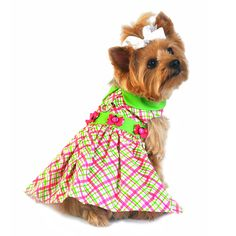Ladybug Plaid Dog Harness Dress - Pink and Green DD# 58440 Too cute!!! We designed this dress using the same popular colors as our Lime Green and Hot Pink fabric harness. We knew the popularity of these colors for spring and summer so we decided to ...