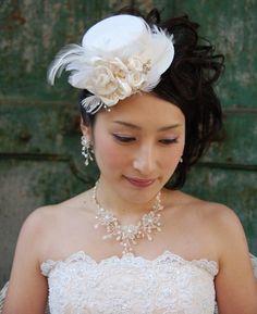 ヘッドドレス(髪飾り)【ウェディングハット】ソワール