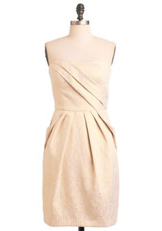 Comet Allez-Vous Dress by Max and Cleo - Gold, Exposed zipper, Pleats, Pockets, Sheath / Shift, Strapless, Mid-length, Cream, Solid, Formal, Wedding, Party, Summer, Prom