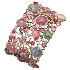 Cellini bracelet features rose-cut sapphires in multicolor pastel shades, with round, brilliant-cut, white diamond accents, all set in 18-kt. rose gold with a diamond pavé clasp.