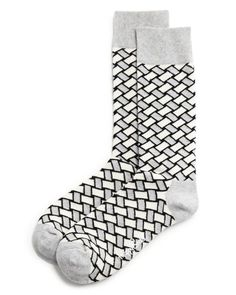 A recent study shows patterned socks are a sign of intelligence. Smarten up with this basketweave-pattern pair by Happy Socks. | Cotton/nylon/spandex | Machine wash | Imported | Fits true to size, ord