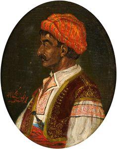 Duesseldorfer Auktionshaus  Orientalischer Meister 19. Jhdt. Portrait eines Persers. Öl/Lwd./Malk., 26 x 22 cm (oval).