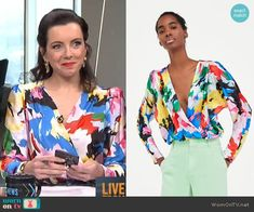 Melanie's multicolored wrap top on Live from E!.  Outfit Details: https://wornontv.net/92510/ #E!News