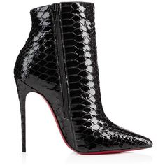 CHRISTIAN LOUBOUTIN Rihanini 120Mm Black Strass ($5,895) ❤ liked on Polyvore featuring shoes, black shoes, snakeskin shoes, snake print shoes, python shoes and high heels stilettos