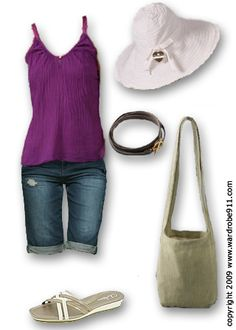 love the purple, and the longer shorts, change to a top with a cap sleeve.
