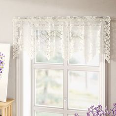 August Grove This lovely sheer curtain valance is embellished with floral lace details and features a ruffled design. Hang it in the kitchen or home office for a classic cottage-chic look. Color: Ecru, Size: W x L Balloon Curtains, Tier Curtains, Long Curtains, Cafe Curtains, Valance Curtains, Lace Window, Kitchen Curtain Sets, Victorian Lace, Window Coverings
