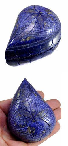 Lapis Lazuli 10235: 1510Ct Big Huge Natural Floral Design Hand Carved Lapis Lazuli Loose Gemstone BUY IT NOW ONLY: $36.73