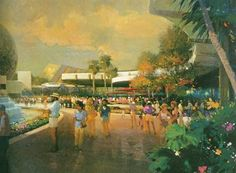 Here is some conceptual art pertaining to Disney's EPCOT Center: Walt Disney Imagineering, Walt Disney Co, Old Disney, Vintage Disney, Disney Art, Disney Stuff, Disney Designs, Disney Concept Art, Disney Images