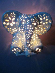 Ceramic elephant night light by LilysLights on Etsy Elephant Room, Ceramic Elephant, Grey Elephant, Elephant Stuff, Elephant Lamp, Baby Elephant Walk, Elephant Themed Nursery, Elephant Mugs, Baby Hippo