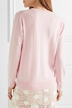 Lingua Franca - I Think I Love You Baby Embroidered Cashmere Sweater - Pastel pink -