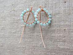 Earrings / Øreringe. Blue dangle earrings made of copper and gemstone. www.bulowssmykker55.amioamio.com
