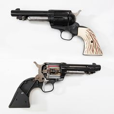 """CUTAWAY AIRGUN: This cutaway Crosman """"Hahn .45"""" follows the lines of the Colt Single Action Army revolver, but as a CO2-powered air pistol, it could handle either .177 pellets or BBs. Sectionalized by the factory as a training aid, the inner mechanism of this handgun can be easily seen."""