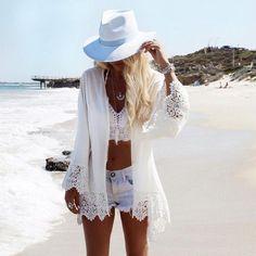 2018 Beach Chiffon cover up skirt blouse bathing sexy top slim Loose white Lace beach dress Cardigan tunic pareo saida de praia Bikini Cover Up, Swimsuit Cover Ups, Bikini Top, Sexy Bikini, Swim Cover, All White Outfit, White Outfits, Lace Outfit, Kimono Outfit