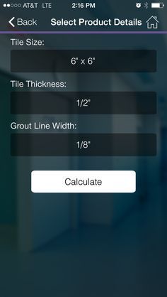 IPhone app that estimates the amount of tile  installation products you need for your tile project. Check it out