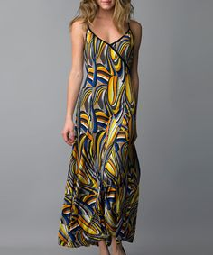 Take a look at this Orange & Blue Abstract Maxi Dress by Sioni on #zulily today!