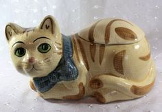Vintage Ceramic Tan Cat Cookie Jar with Green Eyes and Blue Ribbon