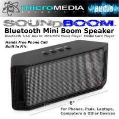 Bluetooth Mini Boom Speaker-MP3/MP4 Player-USB-SD Card Reader-Phone/Devices #MicroMedia