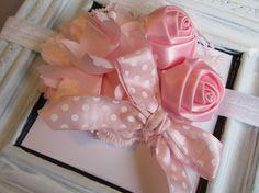 Pink Headband...Lace Headband...Satin by SweetChubbyCheeks on Etsy, $9.00