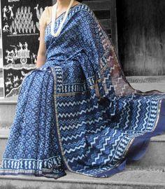 Elegant Indigo Chanderi Saree