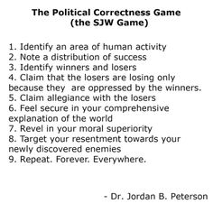The political correctness (SJW) game by Jordan Peterson
