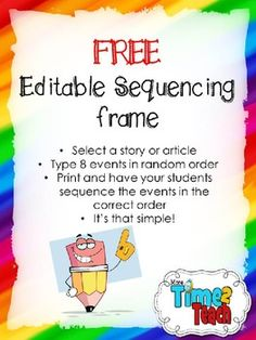 FREE Sequencing Frame {Editable}Powerpoint file... Literature, Reading Strategies, Informational Text 2nd, 3rd, 4th Homeschool Curricula, Activities, Graphic Organizers...This download is editable so that you can enter the title of the story/article you would like your students to read. You can also type in 8 events in random order. Then all that's left is to print and you are ready to go! *Please keep in mind that you need POWERPOINT to access this file*