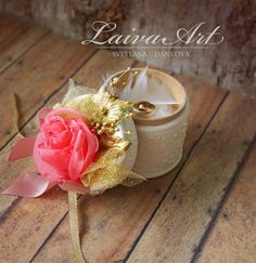 Wedding / Ring Bearer Box / Wooden / Coral and Gold - pinned by pin4etsy.com