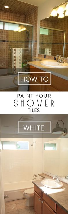 Learn to paint shower tiles! Transform your shower on a budget! Full tutorial by Petite Modern Life for Designer Trapped in a Lawyer's Body. Interior design tips decoration home decor tips tricks White Tile Shower, Shower Tiles, White Tiles, Shower Doors, Shower Tile Paint, Shower Ceiling Tile, Shower Window, Bath Tiles, Bathtub Shower