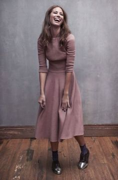 knit dress with full midi skirt + oxfords