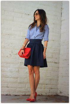 blue and white pinstripe skirt, black linen skirt. My Henri bendel red/orange clutch. I got this