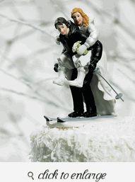 Winter Skiing Wedding Couple Figurine - Funny Wedding Cake Toppers - Funny Wedding Cake Ideas - Funny Wedding Cakes