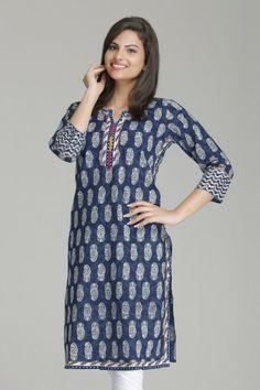 Stylish Indigo Straight Cotton Kurta by Farida Gupta