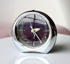 Vintage alarm clock 1970s metal clock Wind up by VintageCorner42