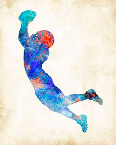 Football Player Watercolor Art Print signed by by DanMorrisArt