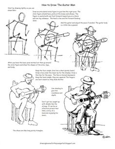 Figure Drawing Tutorial How to Draw Worksheets for The Young Artist: How to Draw A Man Playing Guitar Worksheet Figure Drawing Tutorial, Male Figure Drawing, Guy Drawing, Drawing Skills, Drawing Lessons, Drawing Techniques, Drawing People, Drawing Tips, Drawing Practice
