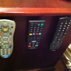 Use velcro to keep your remotes in place. | 44 Cheap And Easy Ways To Organize Your RV/Camper