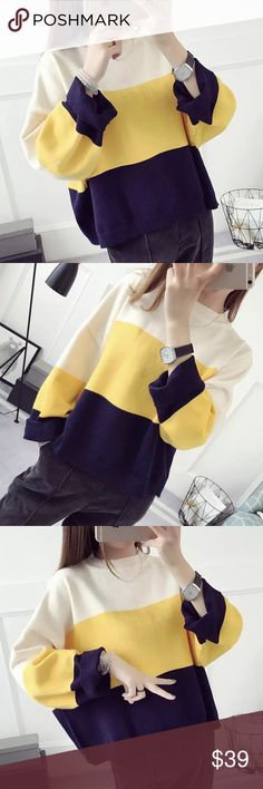 """Color block knit sweater Material: acrylic and cotton blended Measurement: length-19-30"""", bust: 47"""" around, sleeve length-15.5"""", shoulder to shoulder- 26-27"""" Sweaters"""