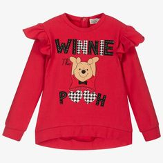 Red sweatshirt for girls, by Everything Must Change. Made from soft cotton jersey, it has Disney's Winnie the Pooh printed on the front, with diamanté details and a sweet ruffle on the shoulder. Everything Must Change, Disney Sweatshirts, Disney Winnie The Pooh, Kids Online, Printed, Shoulder, Sweet, Girls, Red