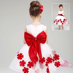 Red Flower Girl Dresses Bow Sash Sleeveless Knee Length Kids Party Dress With Hair Band Little Dresses, Little Girl Dresses, Girls Dresses, Flower Girl Dresses, Frock Design, Princess Frocks, Summer Formal Dresses, Baby Dress Patterns, Ball Gown Dresses